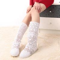summer net boots cutout boots lace flat heel boots knitted women's medium-leg boots shoes