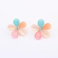 2014 New Fashion Candy & Sweet gold Earrings Opals FIve Flower stud Earrings For lovely Girl women statement Jewelry