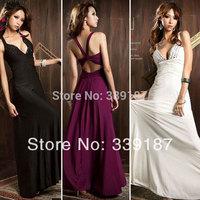 Women Evening Long Dress Payty Sexy Backless Breast Gem Back Cross Long Formal Dresses Black White Purple 4610425