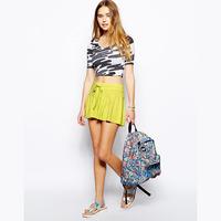 2014 new fashion Belted drawstring elastic waist lemon yellow knitted design female short culottes shorts haoduoyi
