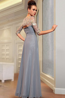 competitive good quality &DORISQUEEN Free Shipping evening dresses 2014 new half sleeve embroidery grey color formal dresses