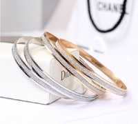 Free shipping,Min order 15$ (Mixed order) New Trendy Elegant Gold Plated Sparkle Dull Polish Round Circle Bracelet Bangle Anklet