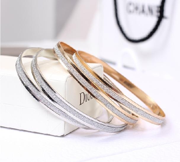 Free shipping,Min order 15$ (Mixed order) New Trendy Elegant Gold Plated Sparkle Dull Polish Round Circle Bracelet Bangle Anklet(China (Mainland))