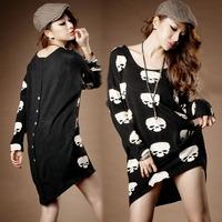 2014 new women's leisure back button skull loose big yards long long plus T-shirt free shipping