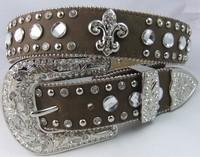 rhinestone crystal western belts with flear-de-lis free shipping