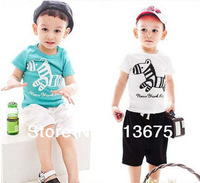 Free Shipping 2014 summer new boys suit Cartoon Trojans Cotton children suit Short T-shirt + short pantssuit Boy suit