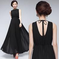 free shipping 0731 bohemia elegant cutout racerback elegant vest chiffon full dress one-piece dress beach dress