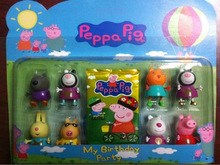 Explosive to booking!2014 NEW 8pcs Peppa Pig & friends plastic doll for kids baby toy(China (Mainland))