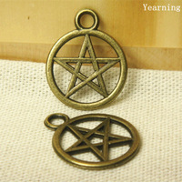 Yearning Vintage Bronze Zinc Alloy Pentagram Charms Jewelry Pendant Charms Findings 20*25MM 50pcs/lot