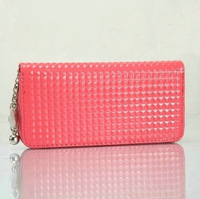 Hot-selling small square grid candy color women's wallet long design zipper style hanging beads wallet  designer