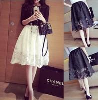 Free Shipping 2014 Hot Sale Women Medium Long Crochet Knee Length Puff Lace Skirt