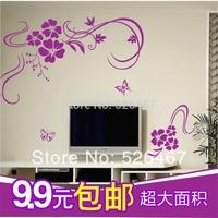 Free shipping 2014 New arrive Flower sticker Tv  Sofa wall stickers glass sticker