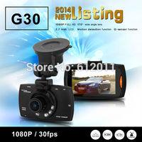 Free Shipping Novatek 96650 G30 1080P 2.7Inch Lcd 170 degrees CAR DVR Camera  Night Vision G-Sensor