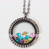 The drill Floating Living Charm FITs MEMORY glass LOCKET pendant +13PCS charms