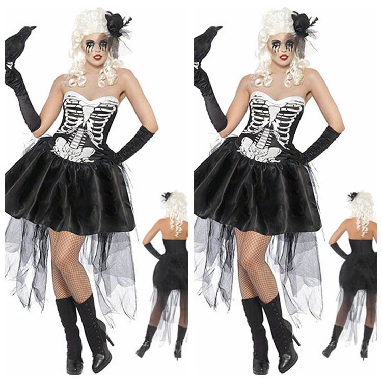 women's costumes skull dress plus size skull clothing halloween scary ghost costumes halloween vampire costumes for women black(China (Mainland))
