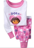 New arrival  kids clothes set Girls Pajamas  Girls Long Sleeve Pajamas toddler Kids Sleepwear dora  design  2 - 7 yrs