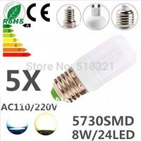 5pcs/lot 24leds SMD 5730 E27 E14 G9 GU10 B22 8W LED bulb lamp ,Warm white/white LED Corn Bulb Light,waterproof