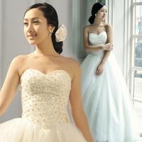 Sweet pearl tube top princess bride 2013 bandage wedding dress