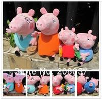 4pcs/lot hot sale Daddy Mummy Pig Peppa George Pig family Plush Toy Set Movie TV Peppa Pig hold Teddy Stuffed Animals Dolls Kids
