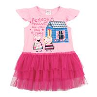 2014 summer peppa pig dress baby girl's dress pink chiffon dress half-sleeve, 100% cotton girl's fashion clothes for children