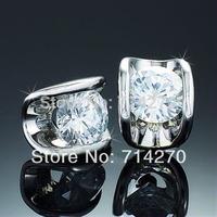 Free Shipping 18K silver alloy GP Austrian Zircon Diamante crystal high quality princess jewelry Earrings Stud statement 2014