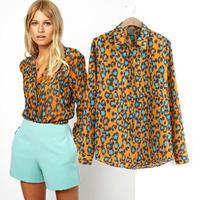 2014 new women's clothing Korean version retro print Slim was thin lapel shirt  Ladies chiffon long-sleeved shirt  Free shipping