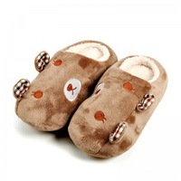 Free Shipping Autumn and winter Lovely ears coral fleece lovers couple slippers home Warm cotton-padded floor slippers