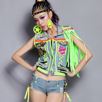 Twirled clothing women Singer Fashionable Denim vest hip hop top Dance dress Neon clothes