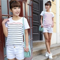 2014 Fashion Newest women t-shirt striped short sleeve t shirt O-Neck casual tees tops CUTE cotton tshirt blouses XXL 8262