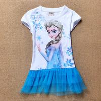 800 2014 New Summer Popular Fashion Hot Cartoon Frozen Anna Elsa Princess Blue Cotton Dress For Girs Children Clothing