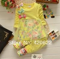 2014 100% cotton female child long-sleeve T-shirt child top set clothes trousers twinset 4 colour size: S-XL