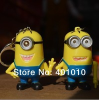 2pcs/set Despicable Me Minions Cartoon Sound LED Flashlight Stuart Dave Key Chain Decoration Cute Kid Toy Keyring free shipping