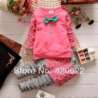 2014 100% cotton female child Dot long-sleeve T-shirt child top set clothes trousers twinset 3 colour 90-120