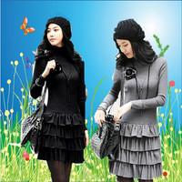 2014 women's long-sleeve cake short   faux two piece one-piece dress 0