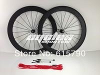 free shipping!  aluminum brake surface 700C carbon wheels 50mm carbon fiber road bikes wheel