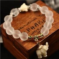 Natural matte crystal bracelet fashion super sweet elephant women bracelet wholesale retail 048