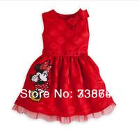 1pcs baby Fashion Girls Summer Dresses cartoon red Minnie Mouse tutu for dress Dot Girl princess Dress Free shipping
