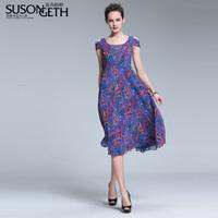 2014 summer strapless print big skirt chiffon slim one-piece dress lyq-4211