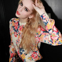 2014 new spring and summer women chiffon ladies blouses novelty  floral print sexy vintage fancy blue pink long-sleeve padsshirt