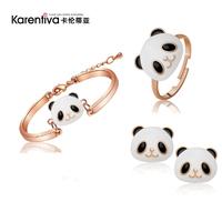 Wholesale New Jewelry Gold Plated panda rhinestone jewelry  ring+ stud earrings jewelry sets