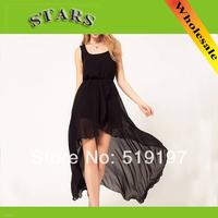 Women new fashion 2014 Spring Summer black/red/pink tank brief dress irregular chiffon dresses,party evening vestidos+free ship