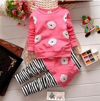 2014 100% cotton female child long-sleeve T-shirt child top set clothes trousers twinset 20 colour 1-4age