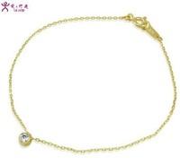 pure 14k yellow glod women bracelet  small cristal   fashion jewelry bracelet  romantic  gift  free shipping