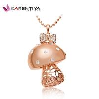 Full rhinestone crystal necklace female long necklace design jewelry mushroom rose gold original design