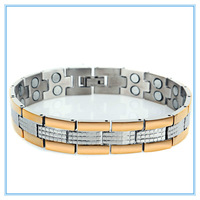 2014 Rushed New Magnetic Bracelets Bangles Tourmaline Energy Ion Balance Sport Therapy Magnets Plated Titanium Steel Bracelet