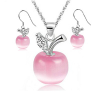 Moonstone  Silver Pink-apple Jewelry set Women's Gift