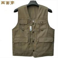 New Arrival Man's Multi-Pocket Vest Reversible Casual Waistcoat Photography Vest Outdoor Fishing Vest Hiking VT-090