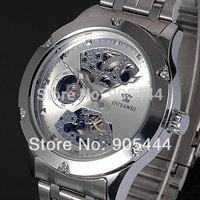 New OUYAWEI Silver Skeleton Analog Mens Mechanical Automatic Wrist Steel Band Watch W071