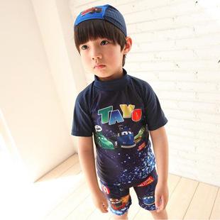 Male child two pieces swimsuit swim trunks baby short-sleeve sunscreen split swimwear boys swimwear with a hat(China (Mainland))