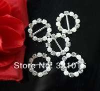 100pcs DIA 21mm 15mm Bar Round Clear Crystal and Pearl Rhinestone Buckles For Wedding Invitation Diamante Ribbon Sliders